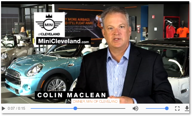 screenshot from car dealership video ad